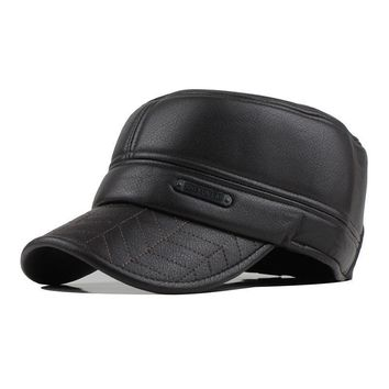 Winter men's leather cap warm hat baseball cap with ear flaps flat top caps for men