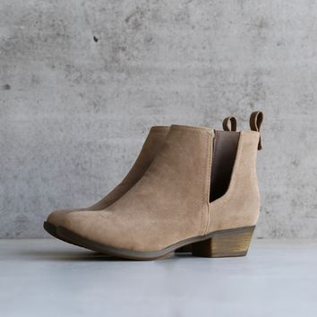 final sale - faux suede side cut out bootie - beige