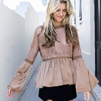Better Together Chocolate Bell Sleeve Top