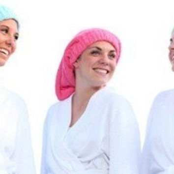 Terry Top Hair Towel, Head Wrap. Super Absorbent 100% Terry Cotton. Keeps Hair Off Your Face. No Twist, No Harm, No Hassle. Simplify Your Morning. Soft Quality Luxury Feel. Multiple Colors and Styles Avaliable