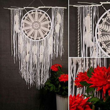 Wedding gifts White Dreamcatcher Boho Dream Catcher Large white crochet dreamcatcher wedding ceremony photo backdrop Dreamcatcher Bohemian