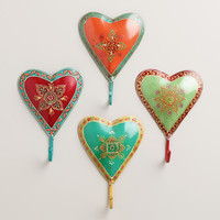 Painted Heart Hooks, Set of 4 - World Market