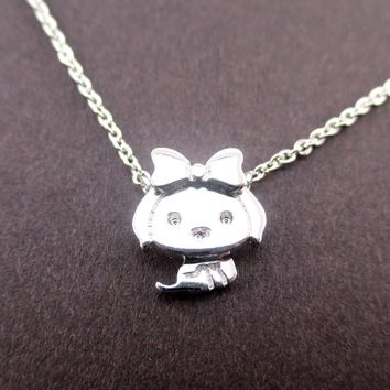 Cute Teacup Puppy with Bow Tie Shaped Pendant Necklace in Silver