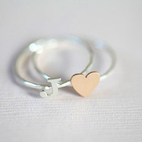 personalized stack rings initial ring and heart ring  by moncadeau