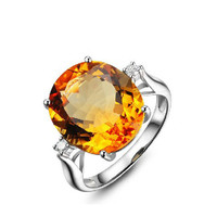 11.29ct Citrine 14K gold natural diamond rings