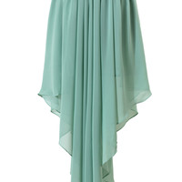 Mint Chiffon Asymmetric Waterfall Skirt