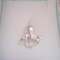 Sterling Silver Octopus Charms with cubic zirconia. Octopus charm necklace. Silver Octopus charm. 925 Octopus pendant.