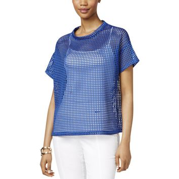 Anne Klein Womens Pleather Laser Cut Casual Top