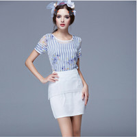 Floral Stripe Print Chiffon Sheer Mesh Blouse with Mesh Layered Sheath Skirt