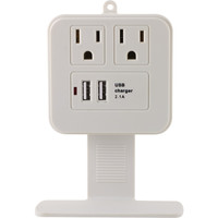 Ge 2-outlet Surge Protector Wall Tap With Phone Shelf & 2.1a Usb Charging