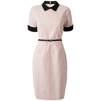 Buy Closet Contrast Belted Dress, Pale Pink online at John Lewis