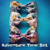 Adventure Time fabric bow tie hair bow set