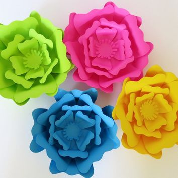 "Set of 4 giant paper flowers, Neon 6"" roses, 80s party decorations, Bright wedding 3D floral wall backdrop, Nursery hanging art"