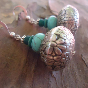 TURQUOISE, WOOD & COCONUT  unique earrings