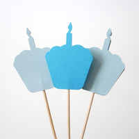 24 Mixed Blue Birthday Cake Cupcake Toppers, Food Picks, Toothpicks, Party Picks - No851