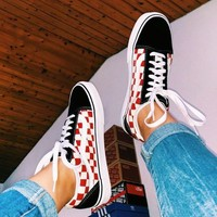 Vans New fashion plaid couple running solid color shoes Black