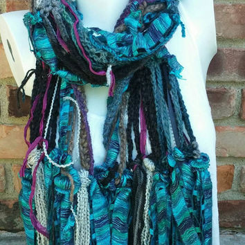 Hippie fringe scarf - Crocheted Multicolored fringe scarf - Long boho scarf - Ribbon yarn scarf - Long yarn scarf - Crocheted fringe scarf