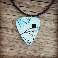 Light Blue Sky Love Birds silhouette guitar pick on black necklace with tree background - Gorgeous and Unique!
