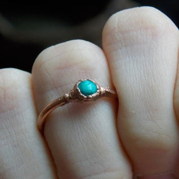 Electroformed Copper Ring with Turquoise size 5.75 // Gemstone Crystal Jewelry