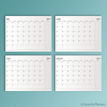 2017 Planner Letter Monthly Dated Planner 2017 Calendar Binder Inserts Mid Year Planner 2016 2017 Academic Planner PDF Instant Download