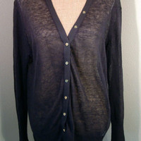 J.Crew Sweater XL X LARGE navy blue loose knit light linen cardigan