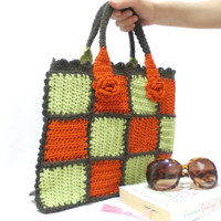 Crochet bag, Handmade bag, Crochet purse, Orange, Checkered, Midi crochet bag, Handmade purse, Mini crochet bag, Valentines day gift bag