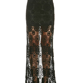 Black Crochet Lace Back Slit Maxi Skirt
