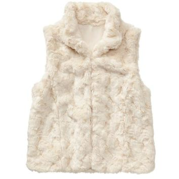 Gap Factory Faux Fur Vest - chalk