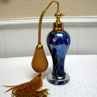 Blue Murano perfume bottle with atomizer mid century glass