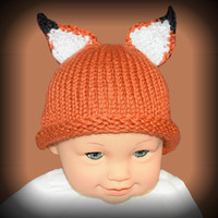 Hand knit baby fox hat, newborn photo prop, made to order, fox beanie, animal hat, baby shower gift, baby boy hat, baby girl hat