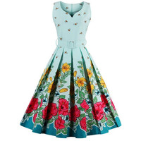 Womens Mid Century Mod Retro Floral Bee 1950s Style Party Dress Sizes S-4XL