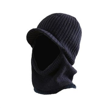 Winter Warm Mask Hat Windproof Knitted Hat Visor Beanie Neck Warmer Hat for  Men Women a7bb806823d