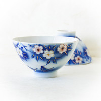 Vintage Blue and White Rice Bowl Chawan, Cherry Blossom and Bird