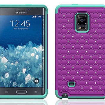 Galaxy Note Edge Case, Crystal Rhinestone Studded Hybrid Dual Layer Shock Resistant Case for Samsung Galaxy Note Edge - Purple/Teal