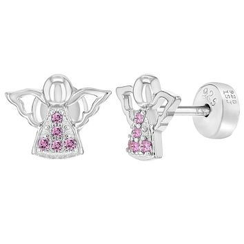 925 Sterling Silver Pink CZ Guardian Angel Religious Safety Earrings for Girls