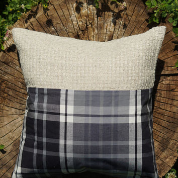 Rustic Home Decor. Decorative Pillows. Hemp Plaid Kilim Black and White Pillow. Housewarming Gift Ideas By Three Snails. Free Shipping!
