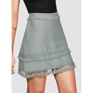 Fringe Trim Zip-Up Side Skirt