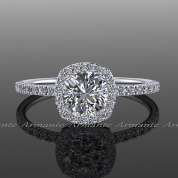 Forever One Moissanite Halo Diamond Engagement Ring / Cushion Cut 14K White Gold Wedding Ring / Petite Bridal Ring /  RE00082FO