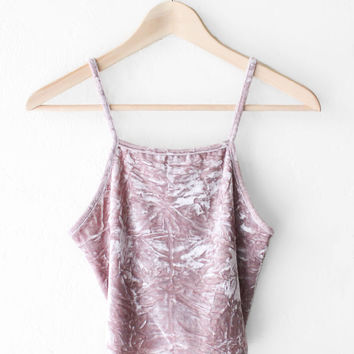 Velvet Cami Crop Top - Dusty Rose