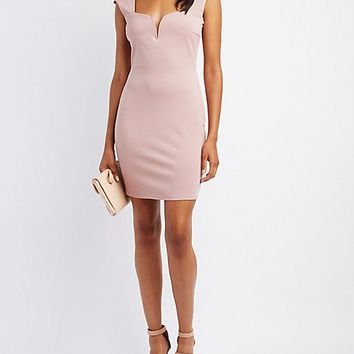Notched Lattice-Back Bodycon Dress