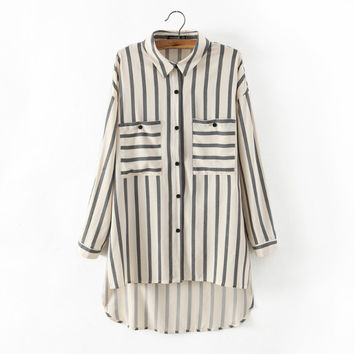Summer With Pocket Stripes Cotton Shirt [6332289540]