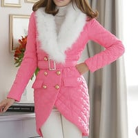 Women's autumn and winter jacket coat collar Nagymaros pink tulip warm cotton padded coat long section of women