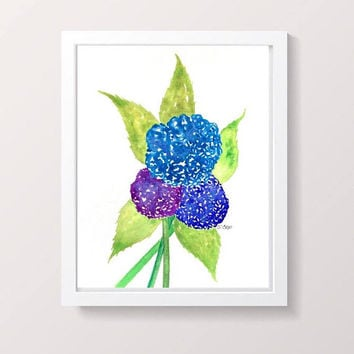 Hydrangea painting, colorful floral artwork, Watercolor flower Painting, original floral, living room art, Botanical art, pretty painting