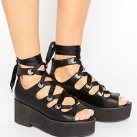 ASOS OH MY! Lace Up Flatforms at asos.com