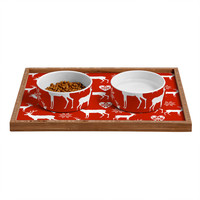 Natt Christmas Deer Pet Bowl and Tray