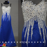 Sexy Mermaid Evening Dress, Royal Blue Mermaid Beaded Prom Dress Lace, Sexy Blue Party Gown, Elegant Mermaid Gown, Mermaid Pageant Dress