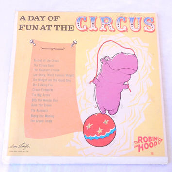 A Day of Fun at the Circus, LP Vinyl Record Story Recording, Radio-Style Talkie, Bunky the Monkey Flip Side Tale, 50s or Earlier