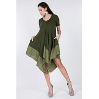 Short Sleeve Asymmetrical Satin Hem Dress