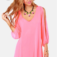 LULUS Exclusive Shifting Dears Neon Pink Long Sleeve Dress
