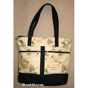 Licensed cool Hawaiian Islands Palm Trees ROOMY Beach Bag Purse Tote 2 outside zipper pockets